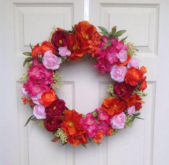 Silk flower wreaths door wreaths front door by FestiveByNature