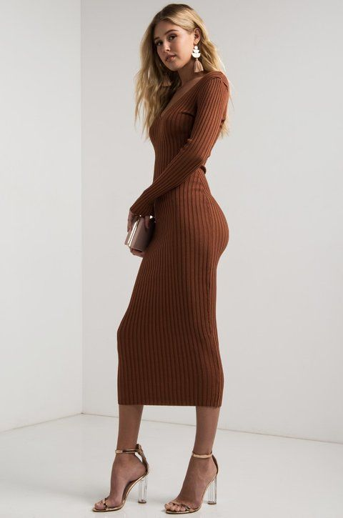 f306303045a AKIRA Off Shoulder V Neck Ribbed Knit Bodycon Long Sleeve Midi Dress in  Black