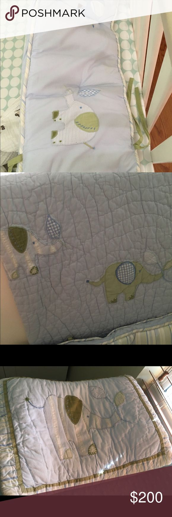 Pottery barn crib bedding Elli elephant crib bedding. Discontinued. BEAUTIFUL !!! Set includes........Bumper, sheets, quilt, skirt and pillow.  I also have a 6 ft round matching rug I paid $600 for and I'm asking $70. Pottery barn  Other