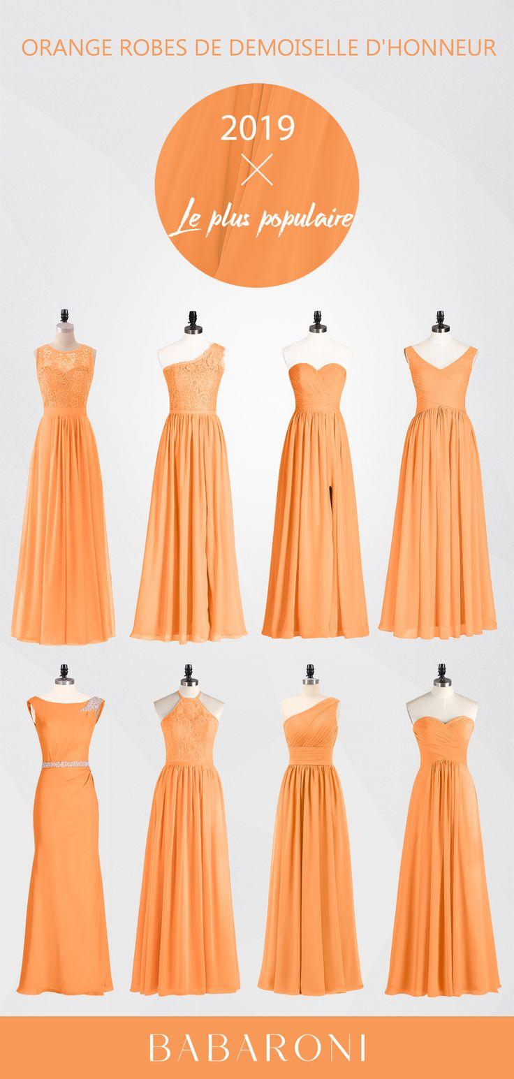 Robes de demoiselle d'honneur orange en mousseline de soie plis dentelle