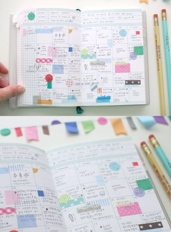 68 best ideas about moleskine hacks and paper planners on - Decoracion con washi tape ...