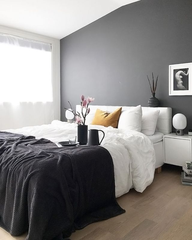 The gorgeous bedroom of @paletternoir ♡ Menu JWDA Concrete lamp available at www.istome.co.uk
