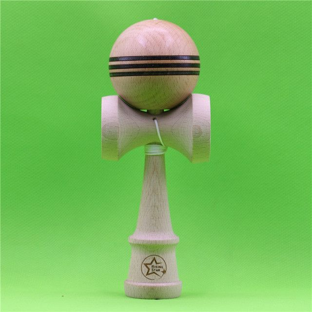 Rising Star Kendama,Unpainted Beech Kendama,Beech Tama with 3 stripe,with spinner Bead,Assembled Ken in newest shape