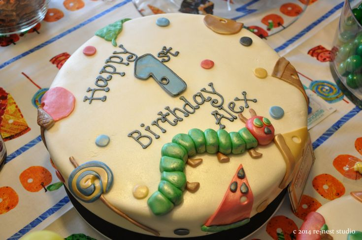 A Very Hungry Caterpillar 1st Birthday Cake