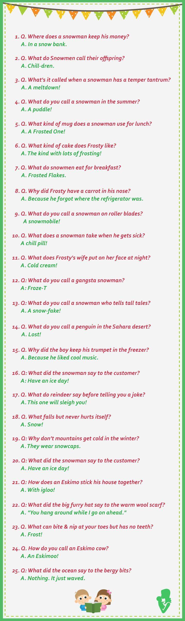Snowman & Winter Jokes Snowman jokes, Funny jokes for