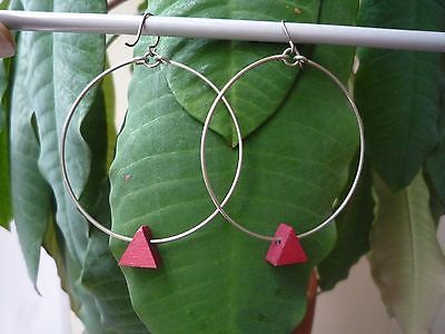 Aarikka-Finland-VTG-Dangling-Big-Hoop-Earrings-w-Hook-Red-Wood-and-Metal