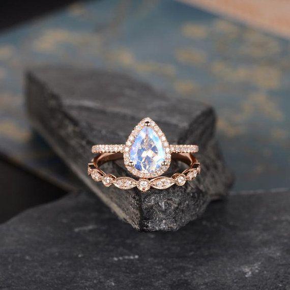 Rose Gold Moonstone Engagement Ring Pear Shaped Ring Bridal Set