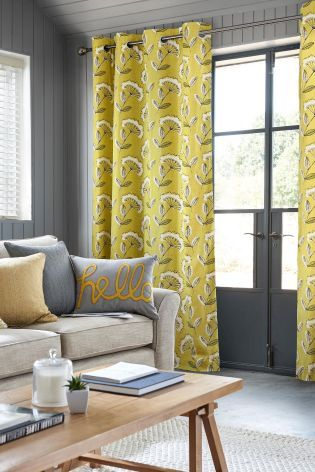 Curtains from next, the ideal combination of yellow and grey in a cow parsley flower design