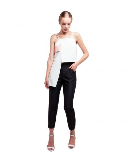 High Low Top with Band Detail and Single Pleated Straight Leg Pants
