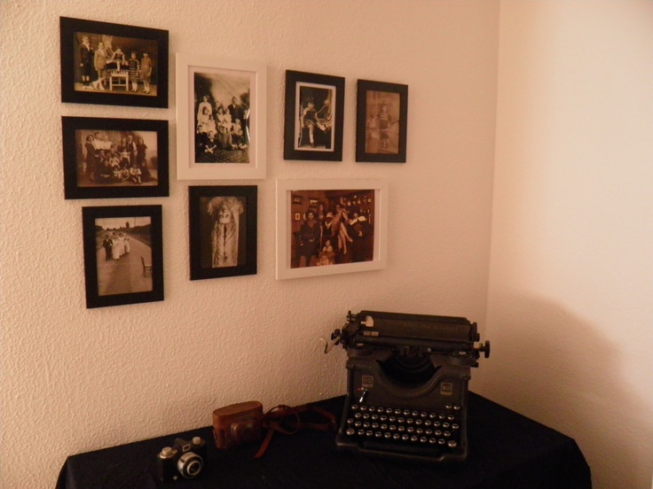 My entrance hall, with antique objects and photos.