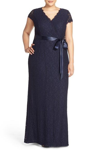 Adrianna Papell Cap Sleeve Lace Faux Wrap Gown (Plus Size) available at #Nordstrom