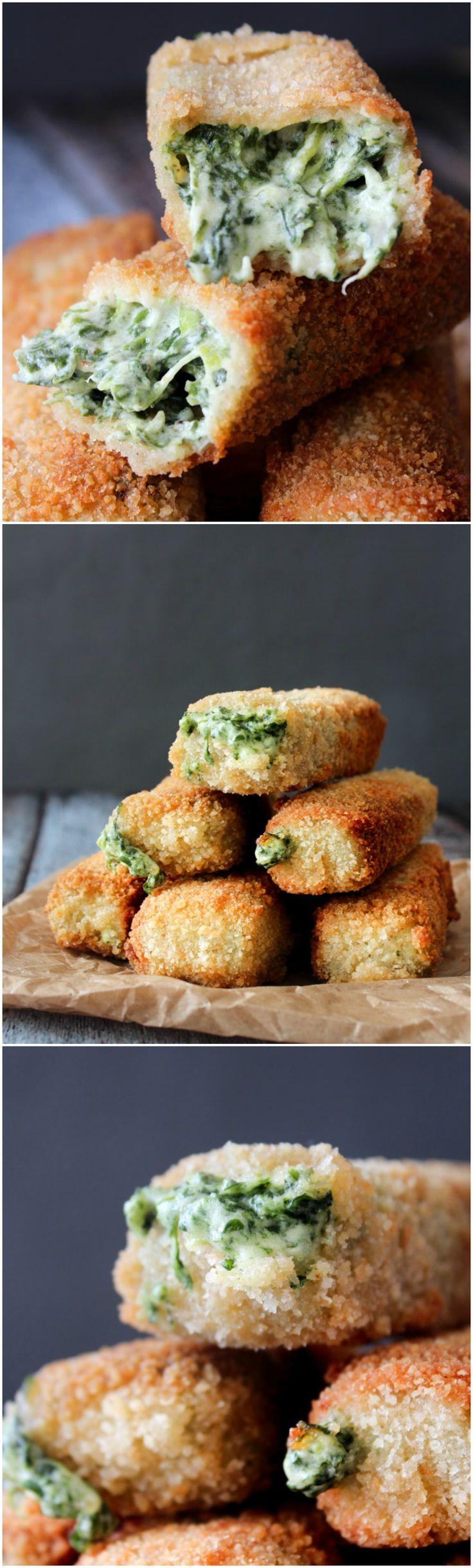 Spinach Dip Sticks - Mozzarella Sticks - Cheese Sticks - Spinach Dip - Cheese Dip - Cheese Snack - Party Food