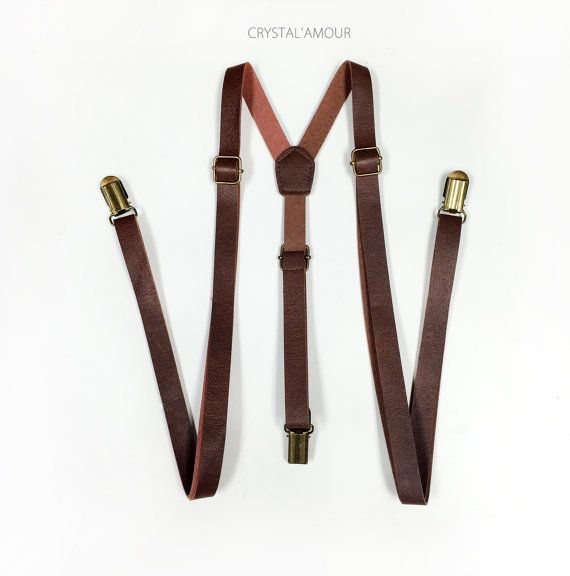 Brown Leather Suspenders, leather suspenders, brown suspenders, suspenders, Mens suspenders, Groomsmen, For Men Under 5'10 Height