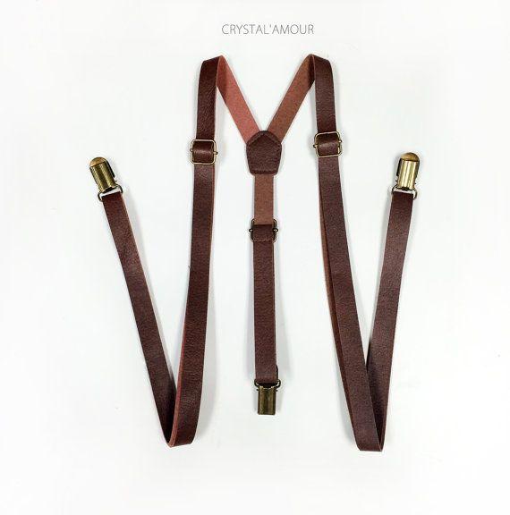 Bretelles de cuir brun brun bretelles bretelles par crystalAmour                                                                                                                                                     Plus
