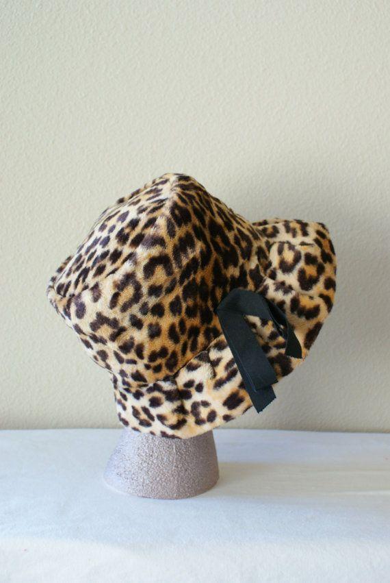RESERVED LISTING vintage 1960s hat // faux fur cheetah leopard // 60s Mod bucket