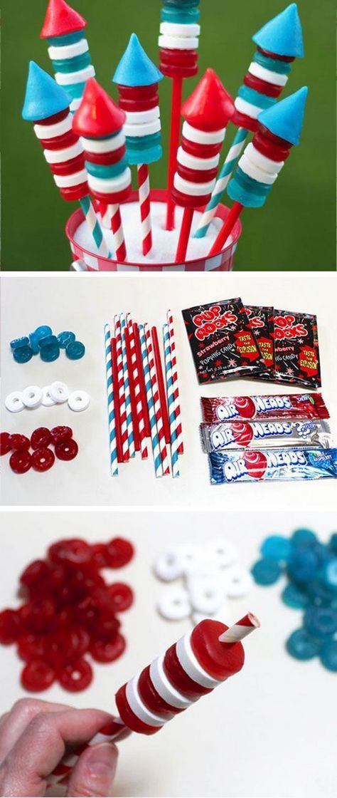Candy Poppin' Bottle Rockets | Get in the Patriotic mood with these 18 Super Easy, DIY 4th of July Crafts for Kids to Make!