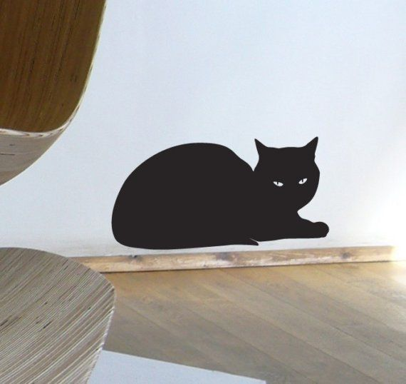 silhouette chat couché