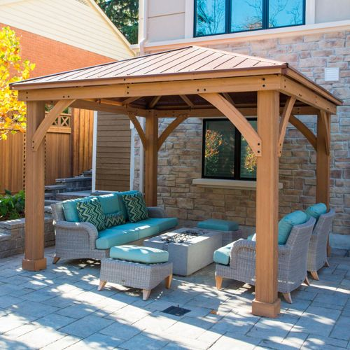 Cedar wood 12 39 x 12 39 gazebo with aluminum roof by for Pergola aluminum x
