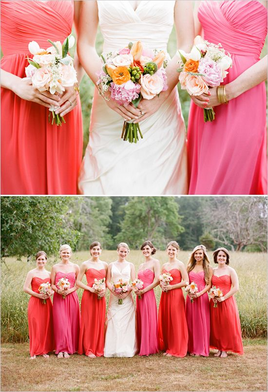 pink and salmon colors, cheery colors! the cut of their dresses are flattering on different body types too!