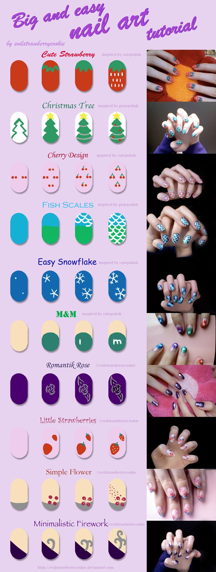 Tutorial of a bunch of simple nail art designs by evilstrawberrycookie from DeviantArt - Big Strawberry, Christmas Tree, Cherries (Cherry), Fish Scales, m, Romantic Rose, Small Strawberry (strawberries), Simple Flower, Minimalistic Firework ~evilstrawberrycookie on deviantART