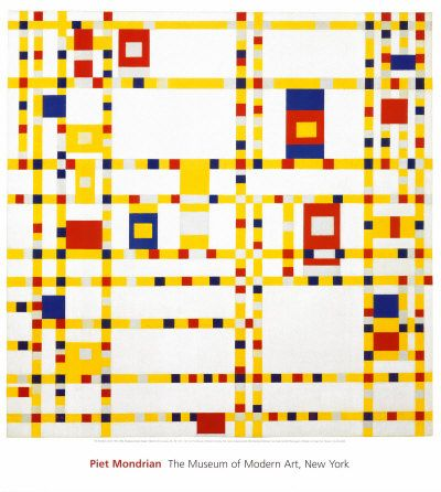"De Stijl, or ""The Style,"" was a group of Dutch artists and well as a journal they published from 1917 until 1931. They sought to express a utopian ideal through abstraction, a fundamental reality rather than emotions. They simplified shape and color to their most basic, clearly defined forms. They worked with planes on a white background, adding only primary colors: red, yellow, and blue. Symmetry was avoided; balance and harmony were achieved through opposition. (Mondriaan)"