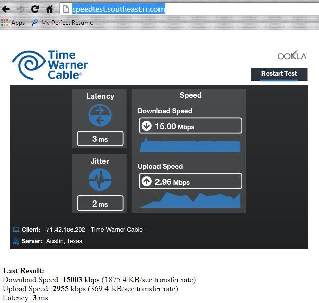 Time Warner Cable speed test for computer diagnostics! http://speedtest.southeast.rr.com/