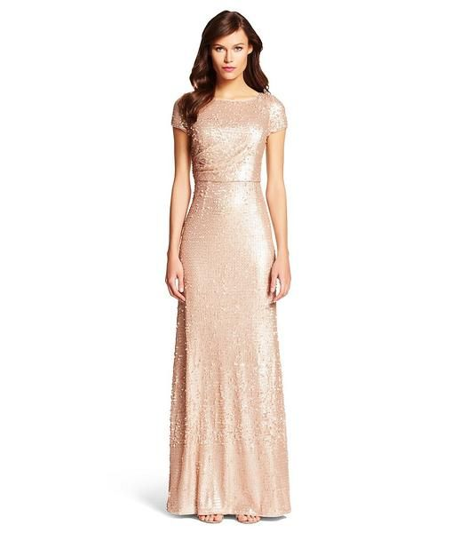 Modest Pink Sequin Gown