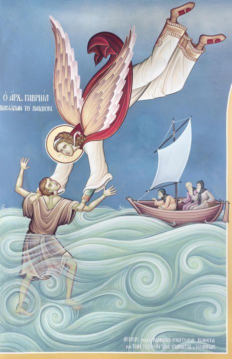 Ο Αρχάγγελος Γαβριήλ διασώζων το παιδίον (Άγιος Γεώργιος Χαλανδρίου)