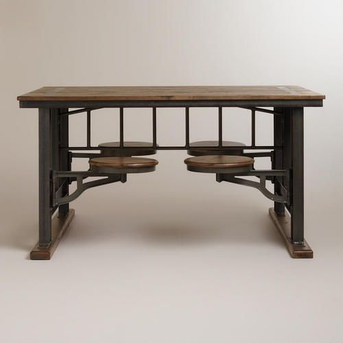 Galvin Cafeteria Table with seats stored under table top