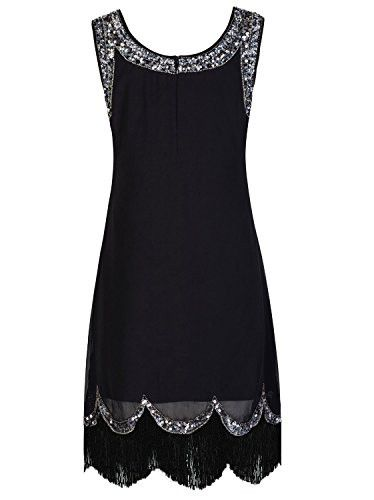 - 100%Polyester - Imported - Zipper closure - Material :Polyester - Evening,party,wedding cocktail dress ,Vintage 1920s style gatsby costume dress - Front With Luxury Decorated With Sequined - Cocktai