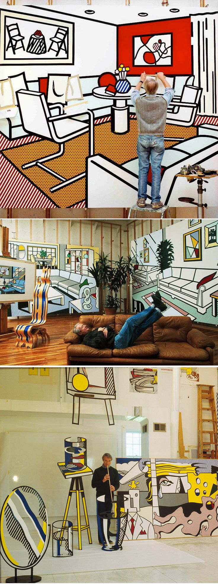 Best Roy Lichtenstein Ideas On Pinterest Roy Lichtenstein - Cartoon mural man obsessing facebook likes says lot society