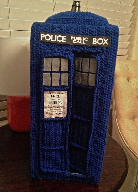 Crocheted Tardis pattern.  (but is it bigger on the inside?)  Doctor Who Crochet Patterns!  <3 craftyiscool.com