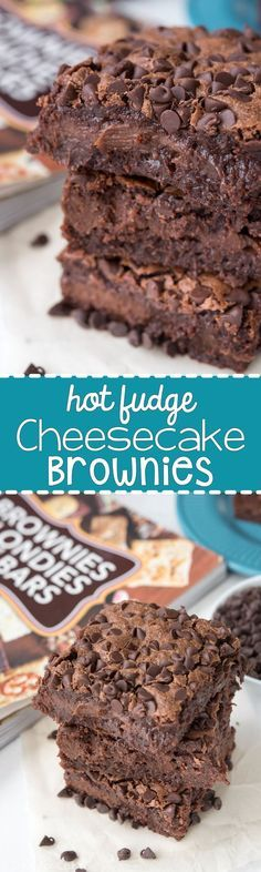 Hot Fudge Cheesecake Brownies - a decadent brownie filled with hot fudge cheesecake. This easy recipe is perfect for chocolate lovers!