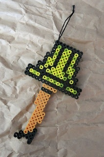 My ornament: A Christmas Story leg lamp made out of Perler/Hama beads