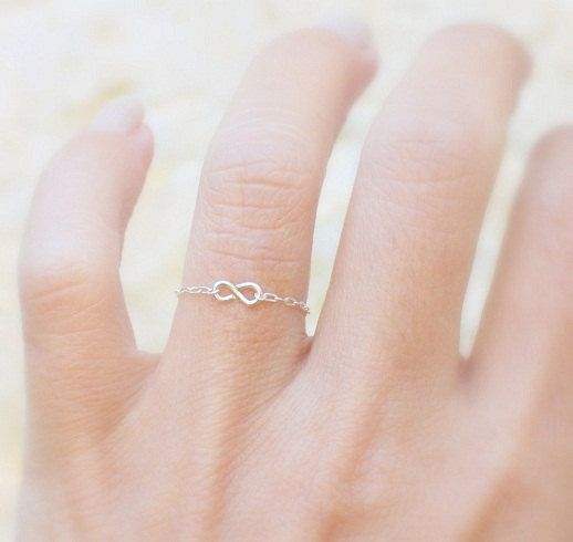 Infinity Ring - Silver delicate chain ring with a tiny handmade infinity, sterling silver Infinity ring,simple silver ring,everyday. $12.00, via Etsy.