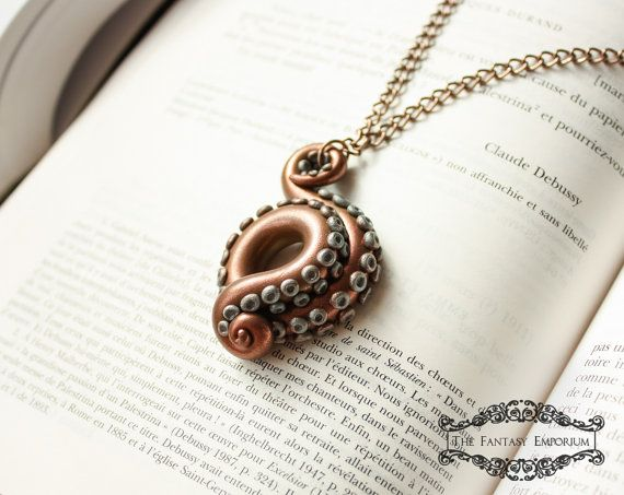 Copper Tentacle #steampunk polymer clay Jules Verne jewelry necklace by #TheFantasyEmporium