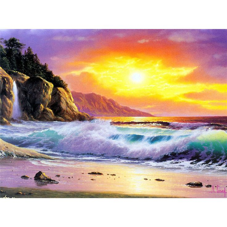 Factory Wholesale Retail diamond painting cross stitch diamond embroidery landscape seaside beach and sea water picture mosaic