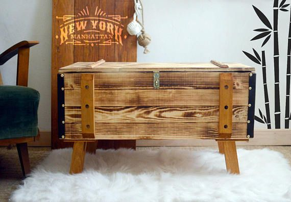 Rustic coffee table Vintage Crate shabby chic side table retro