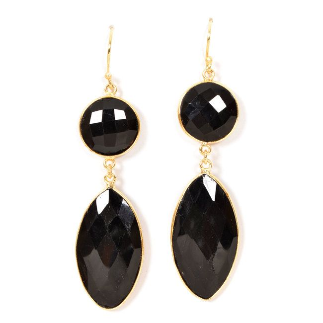 JJade Handcrafted Double Stone Drop Dangler Earrings 10006578 - profile - AVISHYA.COM