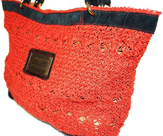 Haute Couture Tote bag  Chilli Red  Organic Jute Yarn by LUXSACCUS, $189.99