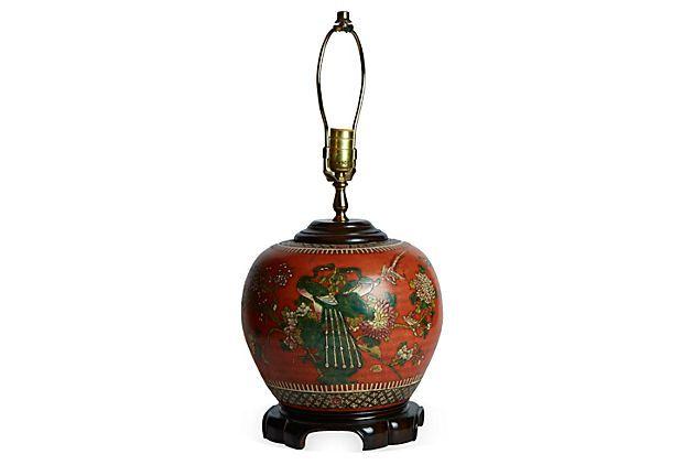 Vintage Chinese Lamp Orage green
