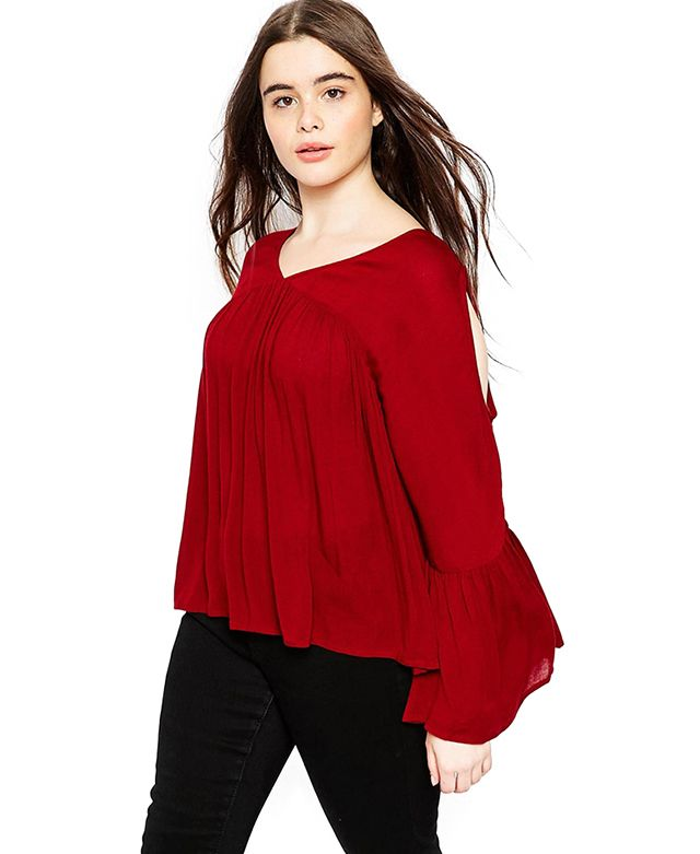 Plus Size Cold Shoulder Chiffon Blouse