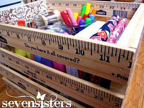 Ruler box as a teacher gift. Rulers are not only used to measure things but also can be used to create some creative things. Perfect for back to school or teacher gifts. http://hative.com/creative-ruler-crafts/