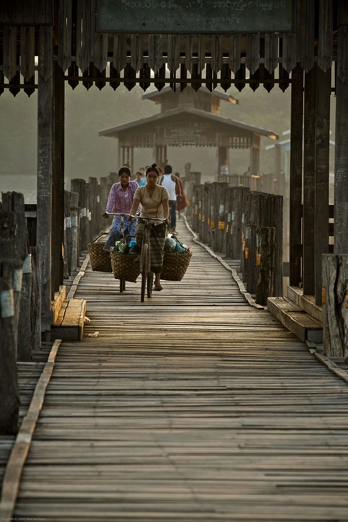 Bridge Crossing. Amarapura, Burma