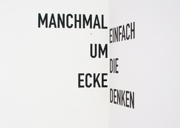 "Wandtattoo ""Um die Ecke"" / typo wall tattoo ""corner"" by whiterabbit via DaWanda.com"