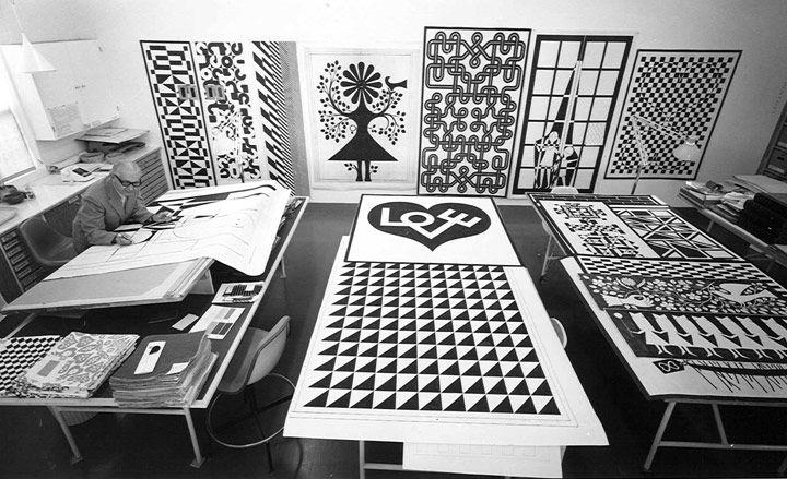 Inside Herman Miller's archives Alexander Girard, famed textile designer and Herman Miller collaborator, at work in his studio, circa 1972