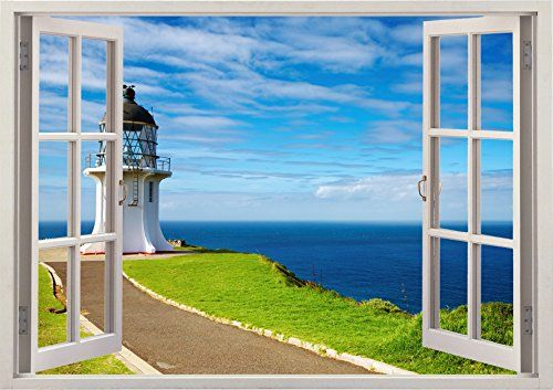 """Tower Beach Ocean Sea Scape View Home Office Kitchen Kids Nursery Room Gift 3D Unique Window Depth Style Vinyl Print Removable Wall Sticker Decal Mural Size 19.6"""" x 27"""" by Bomba-Deal Bomba-Deal http://www.amazon.com/dp/B00N63FQLQ/ref=cm_sw_r_pi_dp_d4Iuub0NFWVWZ"""
