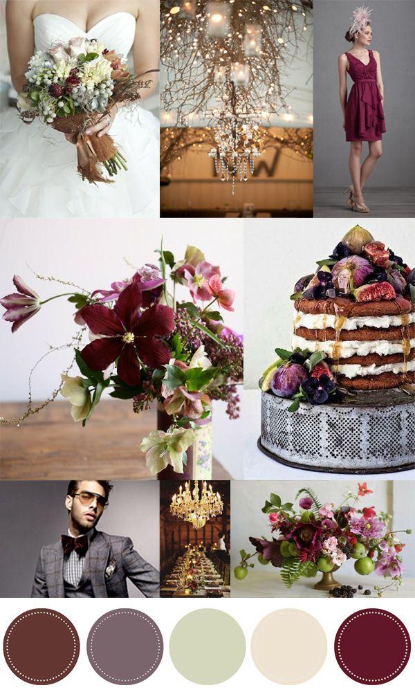 Soft purple, brown, antique white color palette (La Fleur Vintage: Color Love: Pomegranate and Fig)
