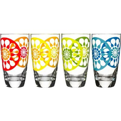 A set of vibrant juice glasses that we can't wait to sip from on the porch this summer.