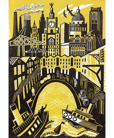 'Landing' by British artist Clare Curtis. Linocut, edition of 50, 26.5 x 19 cm. via Bircham Gallery